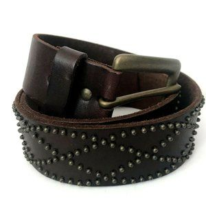 Old Navy Studded Brown Leather Belt Small Wide